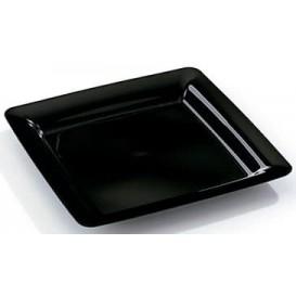 Plato Plastico Cuadrado Extra Rigido Negro 18x18cm (20 Uds)