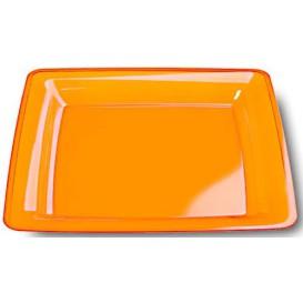 Plato Plastico Cuadrado Extra Rigido Naranja 18x18cm (6 Uds)