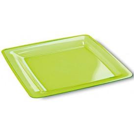 Plato Plastico Cuadrado Extra Rigido Verde 18x18cm (6 Uds)