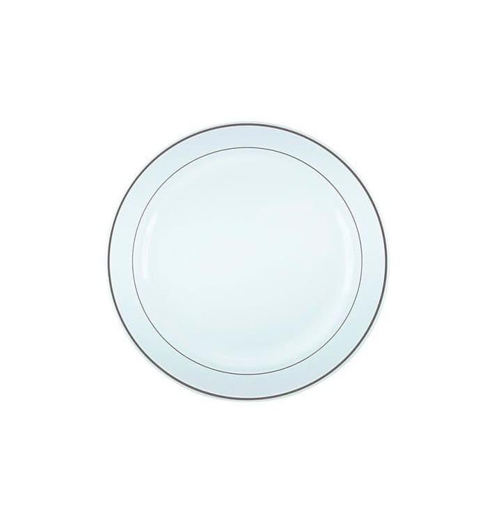 Plato Plastico Extra Rigido con Ribete Plata 23cm (20 Uds)