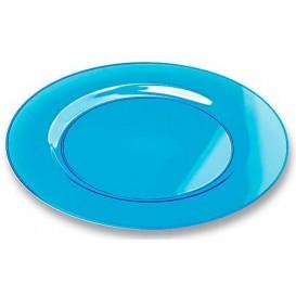 Plato Plastico Redondo Extra Rigido Turquesa 23cm (6 Uds)