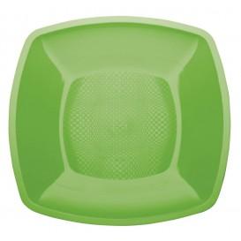 Plato de Plastico Llano Verde Lima Square PP 180mm (25 Uds)
