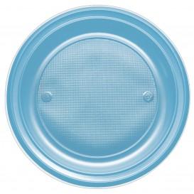 Plato de Plastico PS Llano Turquesa Ø170mm (50 Uds)