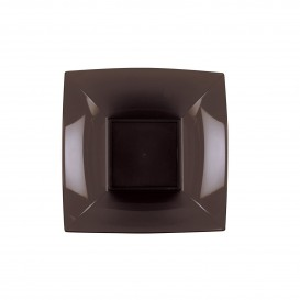 Plato de Plastico Hondo Cuadrado Plata 180mm (25 Uds)