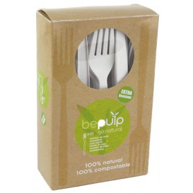Tenedor Biodegradable PLA Blanco 160mm en Caja (50 Uds)
