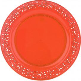 "Plato Plastico Redondo ""Lace""  Naranja 19cm (4 Uds)"