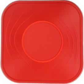 """Bol Plastico PP Cuadrado """"X-Table"""" Rojo 18x18cm (8 Uds)"""