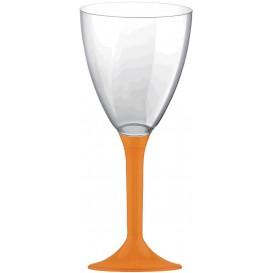 Copa de Plastico Vino con Pie Naranja 180ml (20 Uds)