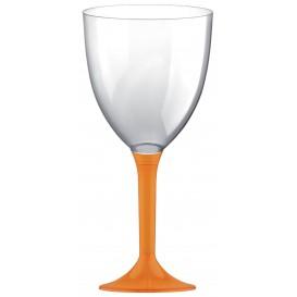 Copa de Plastico Vino con Pie Naranja 300ml (20 Uds)