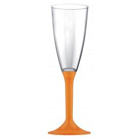 Copa de Plastico Cava con Pie Naranja 120ml (20 Uds)