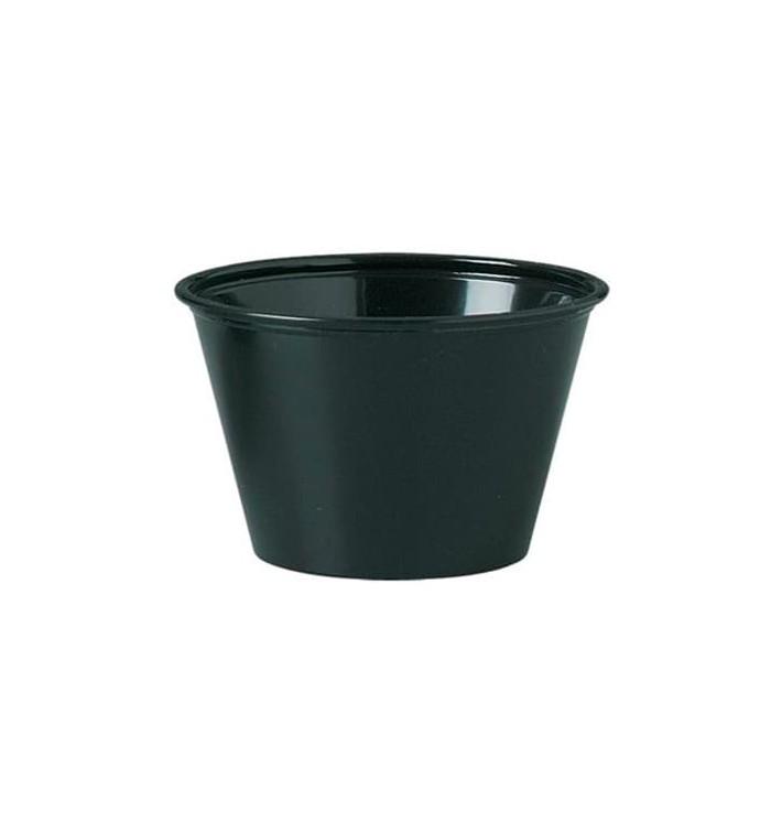 Tarrina de Plastico PP para Salsas Negra 120ml Ø73mm (125 Uds)