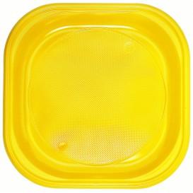 Plato de Plastico PS Cuadrado Amarillo 200x200mm (30 Uds)