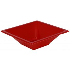 Bol de Plástico PS Cuadrado Rojo 12x12cm (25 Uds)