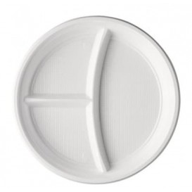 Plato de Plastico PS 3 Compartimentos Blanco 220 mm (100 Uds)
