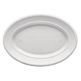 Plato de Plastico PS Ovalado Llano Blanco (100 Uds)