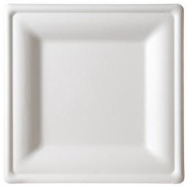 Plato Cuadrado Caña de Azucar Blanco 160x160mm (50 Uds)