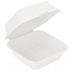 Envase Hamburguesa Caña Azúcar Blanco 152x152x84mm (50 Uds)