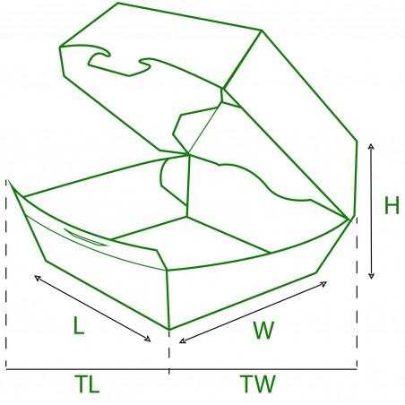 Caja Hamburguesa Cartoncillo 12x12x7 cm (25 Uds)