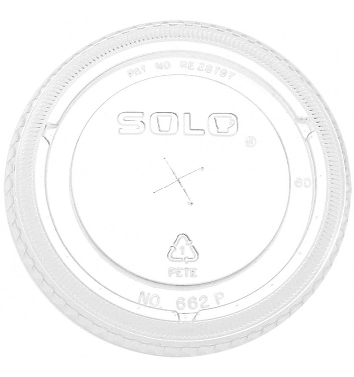 Tapa Plana con Cruz PET Cristal Ø9,2cm (100 Uds)