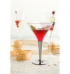 Copa de Plastico Cocktail Pie Plata 100 ml (6 Uds)