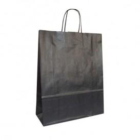 Bolsa Papel Kraft Negra con Asas 100g 32+12x41 cm (50 Uds)
