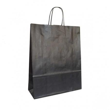 Bolsa de Papel Negra con ASAS KRAFT 100g 32x12x41cm (50 Uds)