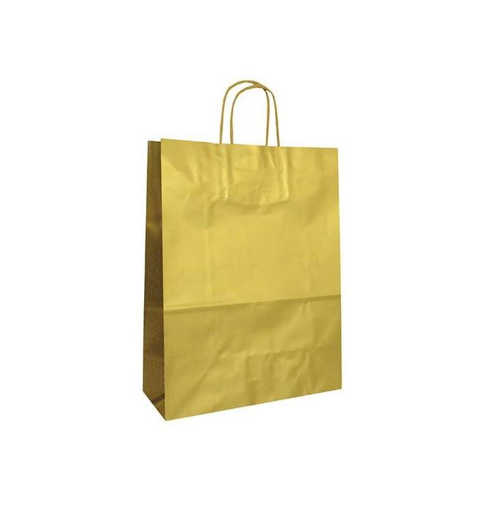 Bolsa Papel Kraft Oro con Asas 100g 32+12x41 cm (50 Uds)