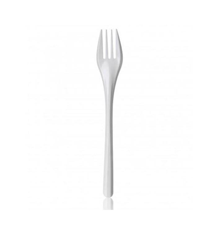 Tenedor de Plastico PS Blanco 165 mm (100 Uds)