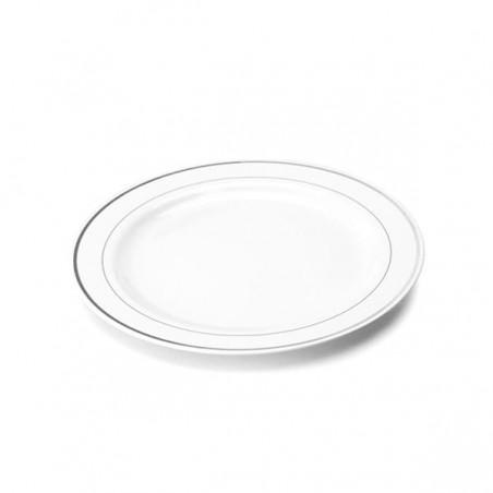 Plato de Plastico extrarigido con Ribete Plata 23 cm (20 Uds)
