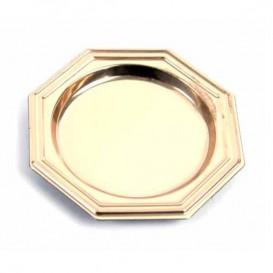 Mini Plato de Plastico Postre Octogonal Oro 8 cm (125 Uds)