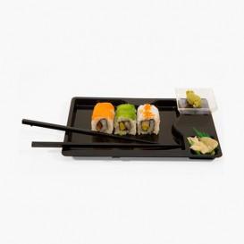 Bandeja Sushi Con Palillos Negra 260x160 mm (12 Uds)