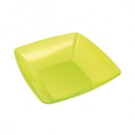 Bol de Plastico Cuadrado Verde 14x14cm (4 Uds)