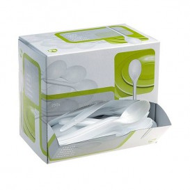 Cucharas plástico 175mm Blanca en Dispensador (250 Uds)