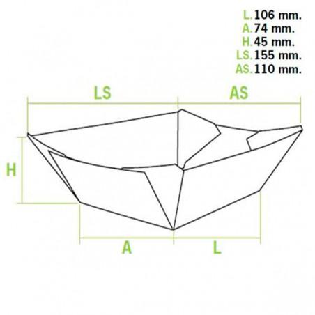 Barqueta 350ml Kraft 10,6x7,3x4,5cm (25 Uds)