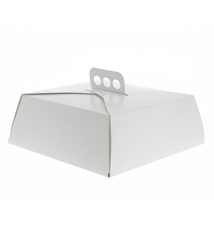 Caja Cartón Blanca Tarta Cuadrada 27,5x27,5x10 cm (50 Uds)