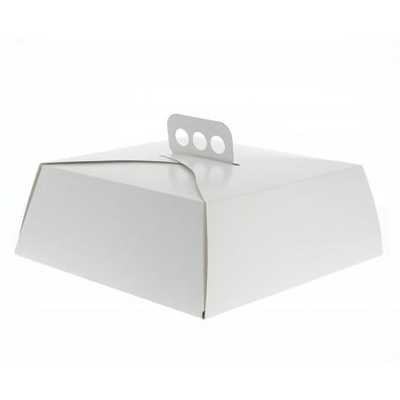 Caja de Cartón Blanca Tarta Cuadrada 34x34x10 cm (50 Uds)