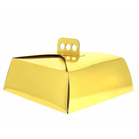 Caja Carton Oro Tarta Cuadrada 24,5x24,5x10 cm (50 Uds)