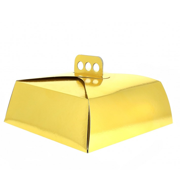 Caja Carton Oro Tarta Cuadrada 27,5x27,5x10 cm (50 Uds)