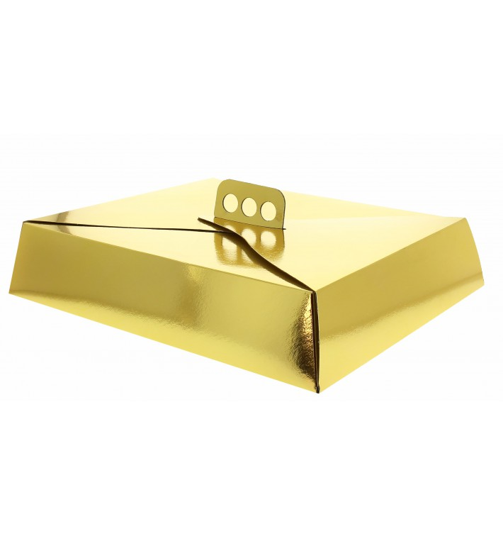 Caja Carton Oro Tarta Cuadrada 32,5x39,5x8 cm (50 Uds)