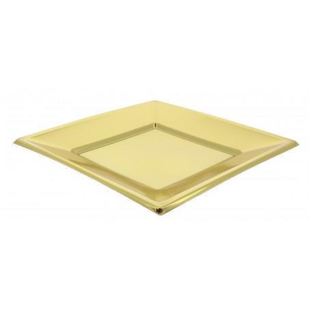 Plato de Plastico Llano Cuadrado Oro 180mm (5 Uds)