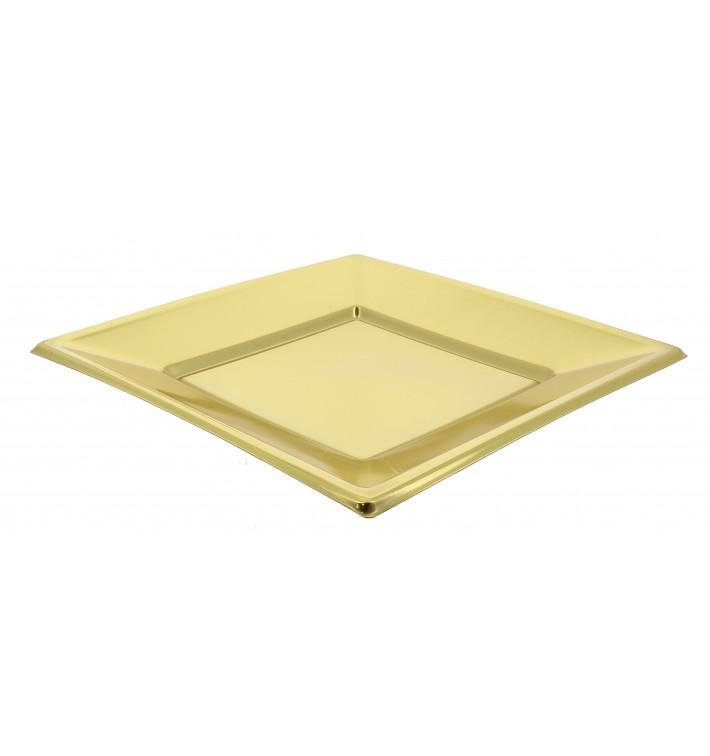 Plato de Plastico Llano Cuadrado Oro 230mm (3 Uds)