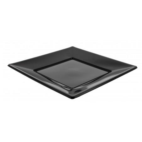 Plato de Plastico Llano Cuadrado Negro 230mm (5 Uds)