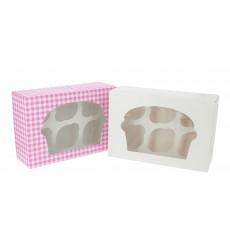 Caja 6 Cupcakes con Soporte 24,3x16,5x7,5cm Blanca (100 Uds)