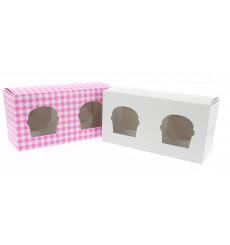 Caja 2 Cupcakes con Soporte 19,5x10x7,5cm Rosa (160 Uds)