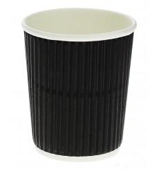 """Vaso Cartón 8 Oz/250ml """"Rizado"""" Negro Ø7,8cm (25 Uds)"""