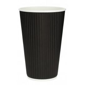 """Vaso Cartón 16 Oz/480ml """"Rizado"""" Negro Ø8,7cm (25 Uds)"""