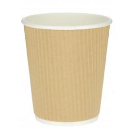 "Vaso Cartón 12 Oz/360ml ""Rizado Kraft"" Marrón Ø8,7cm (25 Uds)"