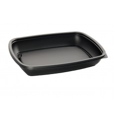 Envase Plastico PP Negro 900ml 23x16,5cm (75 Uds)