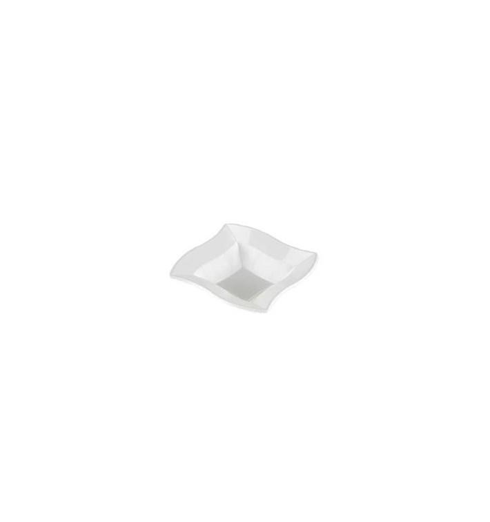 """Bol de Plástico PS Cuadrado """"Ondas"""" Blanco 18x18cm (6 Uds)"""