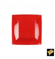 Plato de Plastico Llano Rojo Nice PP 180mm (25 Uds)